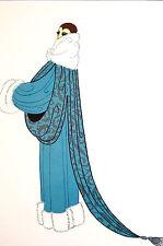 Erte 1982 ELEGANCE Lady WHITE FOX FUR COLLAR EVENING COAT Art Deco Print Matted