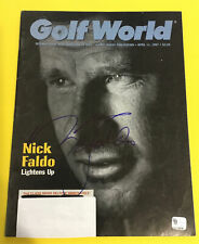 SIR NICK FALDO PGA HOF GOLFER HAND SIGNED GOLF WORLD MAGAZINE 4/11/97 COA GAI