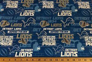 """NEW NFL DETROIT LIONS COTTON Fabric FAT QTR 1/4yd=18""""x22"""" PRIDE 1934 DIY MASK"""