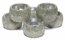 Handmade Beaded Home Decor Napkin Rings Silver Napkin Ring Holders 6 Pcs Set