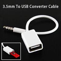 3.5mm Car Male Jack AUX Audio Plug to USB 2.0 Female Converter Cord Cable FastUS