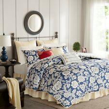 Queen Size Lucy 9 Piece Cotton Twill Reversible Comforter Set Blue Madison Park