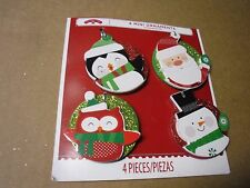 New ! 4 PK Mini Ornaments Penguin Snowman Santa Clause and Owl