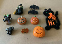 Lot of 10 Pcs of Halloween Pins-2Black Cats, 4Pumpkins,2Bats, 2Witches Pre-Owned