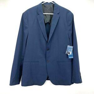 Kenneth Cole New York Mens Stripe Seersucker Stretch Blazer Blue L