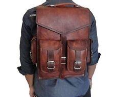 Real Genuine Leather Men's Backpack Laptop Satchel Briefcase Brown Vintage Bag