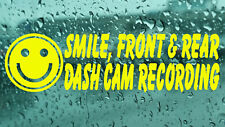 2x Smile Dash Cam Recording CCTV Warning Vinyl Decal Sticker Window Car Van Wall