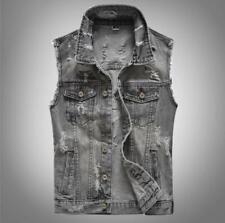 Fashion Men Punk Gray Cotton Vest Waistcoat Denim Sleeveless Jean Jackets Tops