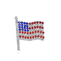 Red Blue 4th of July USA American Flag Patriotic Spirit Brooch Pin Gift Women HQ