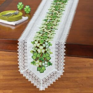 Embroidered Cutwork Clover Lace White St. Patrick's Day Polyester Table Runner