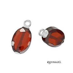 2 Garnet Red CZ In Sterling Silver Oval Dangle Earring Charm Beads #98113