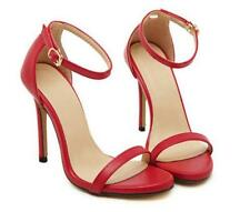Women High Heels Stiletto Sandals Peep Toe Faux Leather Ankle Strap Sandals Shoe