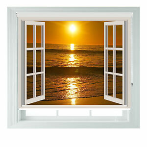 Window Beach Sunset Printed Photo black out roller blinds various sizes