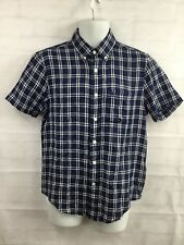 Abercrombie & Fitch Men's Navy Plaid Short Sleeved Button Down Shirt Size Small