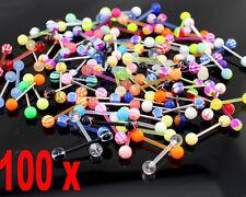 100 Mixed Aryclic Steel Ball Tongue Nipple Bar Ring Barbell Body Piercing  EW