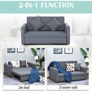 Grey Sofa Bed 2 Seat Convertible Storage Space Living Room Furniture Guest Sleep