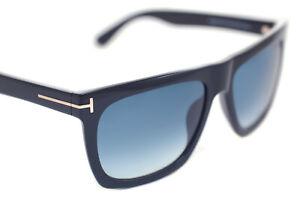 TOM FORD MORGAN TF513 01W 57mm Mens Large Square Plastic Sunglasses BLACK BLUE