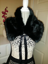 NWT New York & Company Black Faux Mink Fur Collar Wrap Scarf