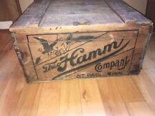 "Hamm's Beer Advertising Railroad Bottle Shipping Case Crate Box Wood 20x21"" Sign"