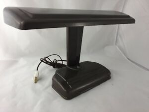 Vtg Art Deco Style Brown Fluorescent Office Desk Lamp Industrial Student