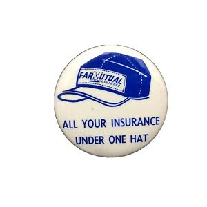 Farmutual Insurance Button  Blue White All Your Insurance Under One Hat