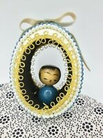 Real Egg Shell Ornament Diorama Wood Asian Figurine Blue Gold Ribbon Vintage