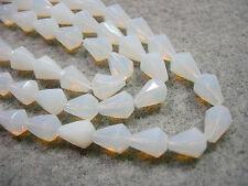 25 White Opal Czech Glass Faceted Bell Teardrop Beads 9x7mm