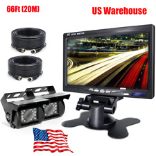 "7"" LCD MONITOR BACKUP REAR SIDE VIEW REVERSE CAMERA SYSTEM FOR AG TRUCK RV Bus"