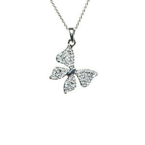 Mikey London NEW! Silver Tone Crystal Butterfly Necklace