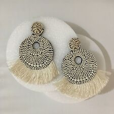 PARKER SPARROW LARGE FELT BACK IVORY BEADED FRINGE DISC STATEMENT EARRINGS