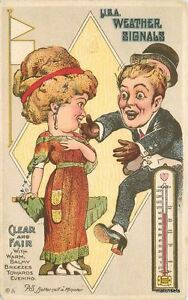 1910 Well dressed woman Man Romantic Weather Signals Hot Thermometer 6279