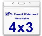 WATERPROOF 4x3 Vaccine Card Holder ZIP Sleeve CDC Vaccination ID Protector Badge
