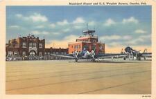 OMAHA NE 1941 Municipal Airport with Prop Plane & US Weather Bureau VINTAGE 539
