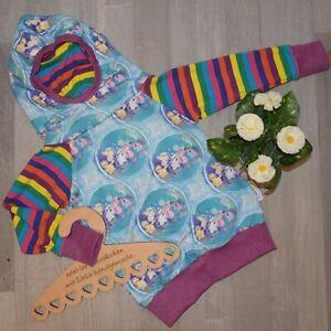 handmade HOODIE Pullover Kapuze Ponys Pferde Regenbogen Pony Gr. 116/122