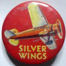 Vintage SILVER WINGS Lockheed Vega Pin w/ Informative Promotional Backpaper