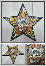 Motorcycle Rider Biker Born To Ride Eagle Flame Wall Decor Art Plaque Sign 12x12