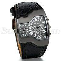 Men Unique Sports Military Army Dual Time Zones Quartz Leather Strap Wrist Watch