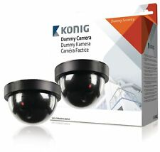 König Dummy Indoor Dome Camera CCTV Security Flashing LED Light Black