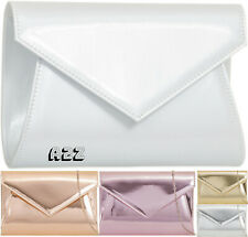 New Womens Ladies Patent Leather Envelope Design Shiny Shoulder Chain Clutch Bag