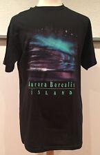 vtg Vintage 90s Northern Lights Aurora Borealis Island Neon T Shirt Black Large