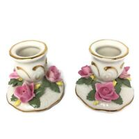 Vintage dresden porcelain Candlestick Roses  N And crown Mark Rare