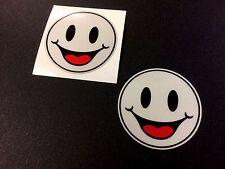 REFLECTANTE Feliz Smiley emoji coche Calcomanías Pegatinas de casco de motocicleta 2 50mm Off