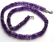"""168 CT 16"""" SUPER AFRICAN AMETAHYST SMOOTH SQUARE CHIPS BEADS NECKLACE 5 - 5.5 MM"""
