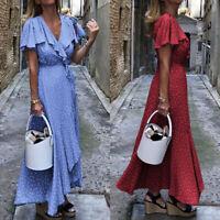 UK Women Frill Polka Dot Maxi Dress Ladies Summer Holiday Wrap Dresses Size 8-26