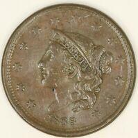 1838 Coronet Head Large Cent. Choice XF Details. RAW3546/BH