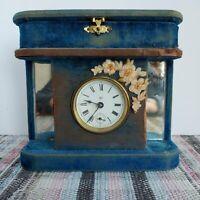 Waterbury clock, mounted in budva jewelry casket with perfume display areas and