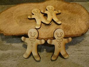10 x wooden mini gingerbread men shaped craft embellishment blanks