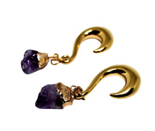 Beautiful Purple Amythest Stone Gold Surgical Steel Spiral Ear Weights 8mm (pair
