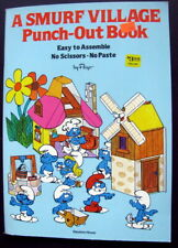 NEW VINTAGE Smurf Windmill Playset Toy Peyo & Smurf Village Punch Out Book