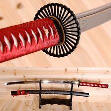 T10 Steel Clay Tempered Katana Full Tang Japanese Sword Iron Tsuba Sharp Blade